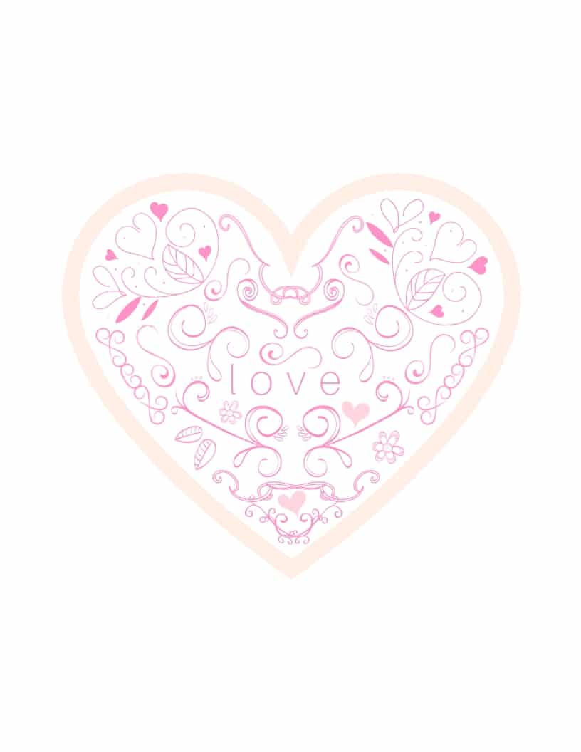 Heart swirling with love free printable