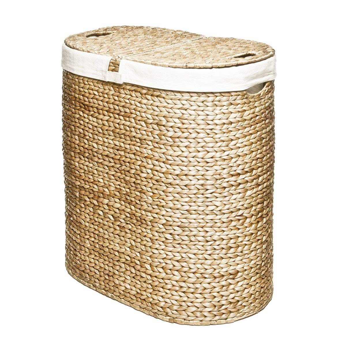 Vintage Laundry Room Decor Woven Double Hamper