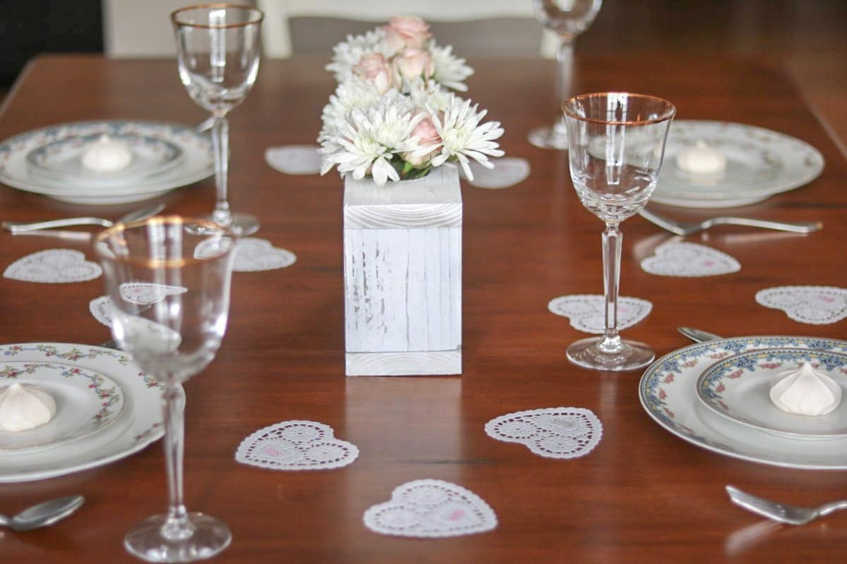 Valentine day decorations for home tablescape