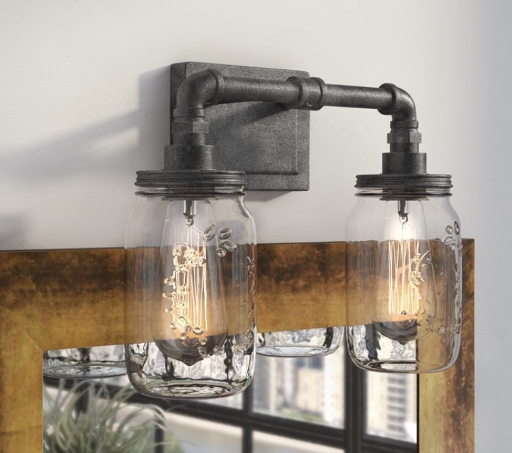 Industrial Pendant Light 2 Light Vanity Light