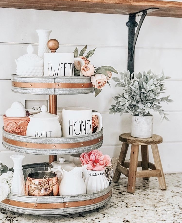 What Is Rae Dunn by Alyssa Ashley Photography with a tiered tray