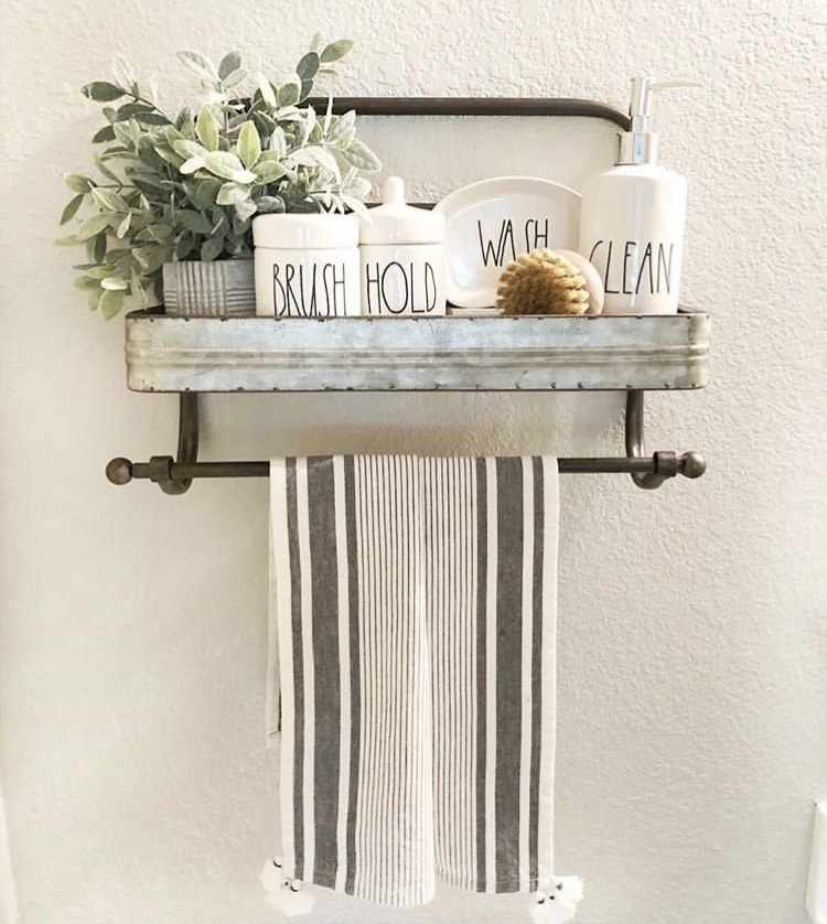 What Is Rae Dunn by Courtney FitzPatrick with bathroom shelf