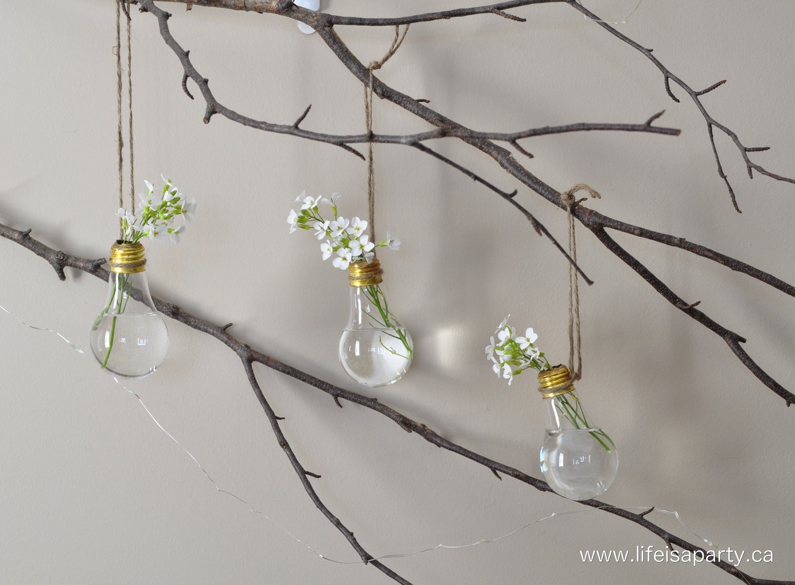 Light Bulb Crafts by Life Is A Party with light bulb flower vases