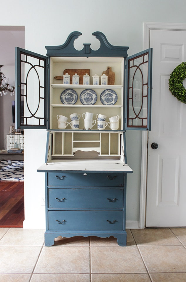 Fusion mineral paint colors used on an secretary in color Homestead Blue by Shades of Blue Interiors