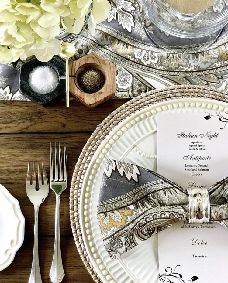 Italian Themed Dinner Party by Olga & Ofelia Living with a sophisticated Italian dinner table setting