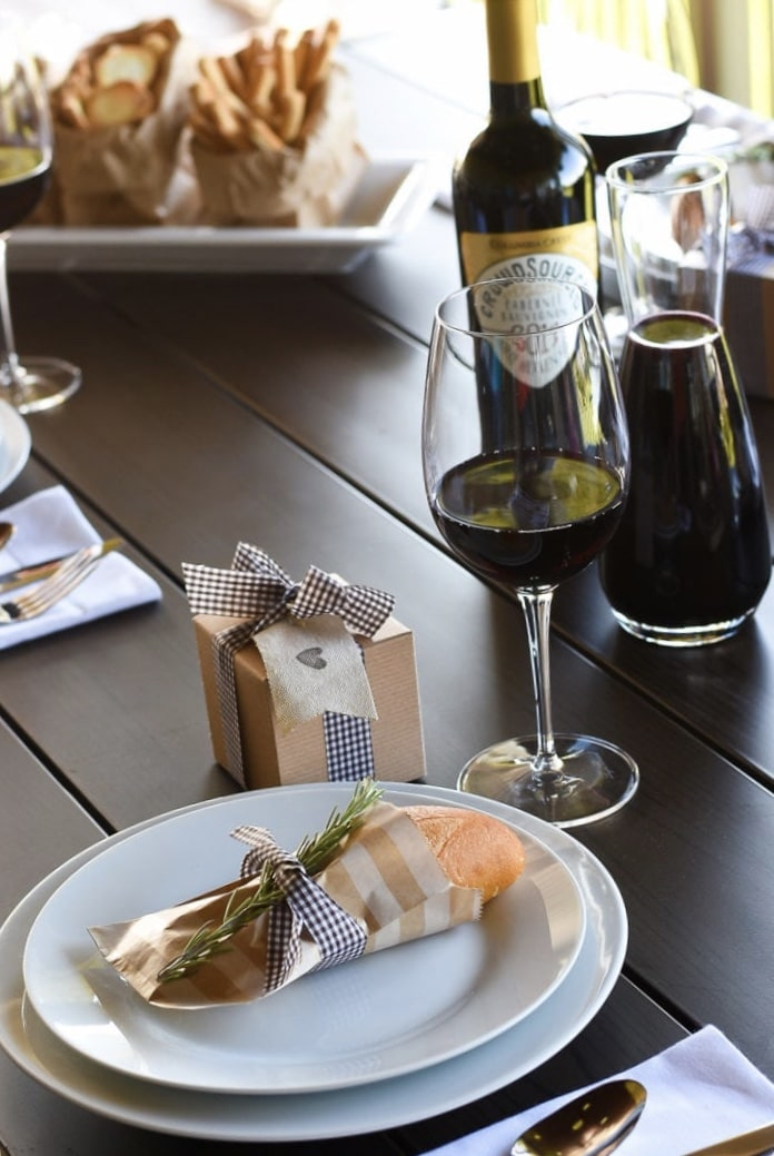 Italian Themed Dinner Party by Fantabulosity with a rustic paper bag and roll with a tie
