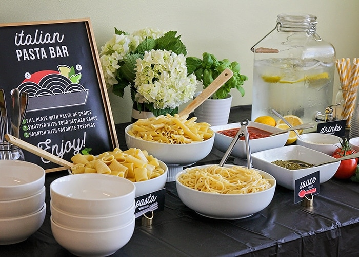 Italian Themed Dinner Party by Somewhat Simple with an Italian pasta bar