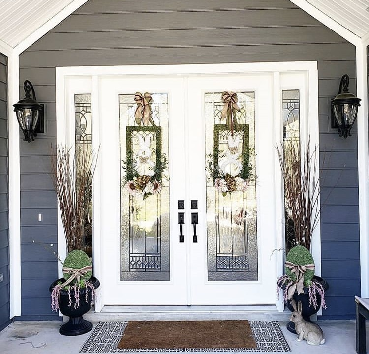 Front Porch Decorating Ideas by Kimberly Blatchford with rectangle bunny wreaths