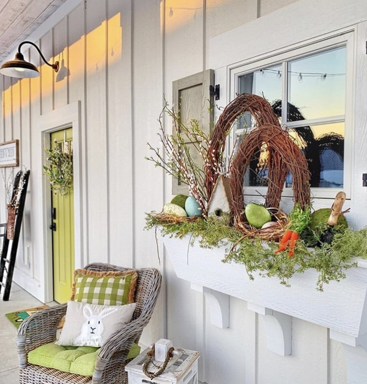 Front Porch Decorating Ideas by Plaids & Poppies with Easter Eggs and bunny pillows