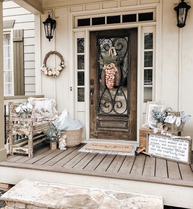 Front Porch Decorating Ideas by Velveteen & Grace Ga. with a soft shabby chic look