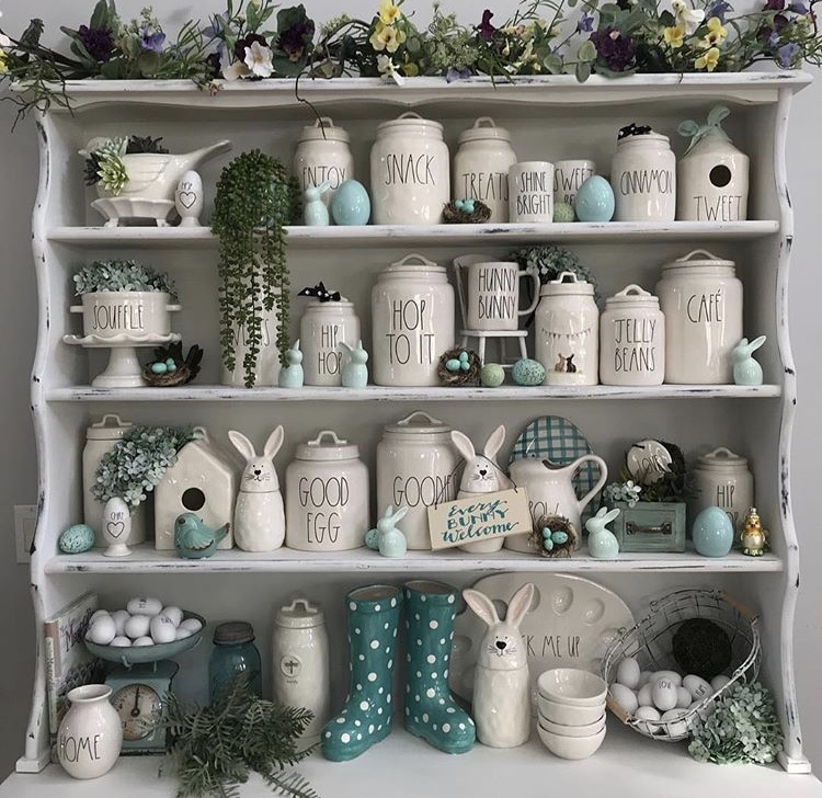 Spring Decor Ideas with Dots Not Dunn with a Rae Dunn filled hutch