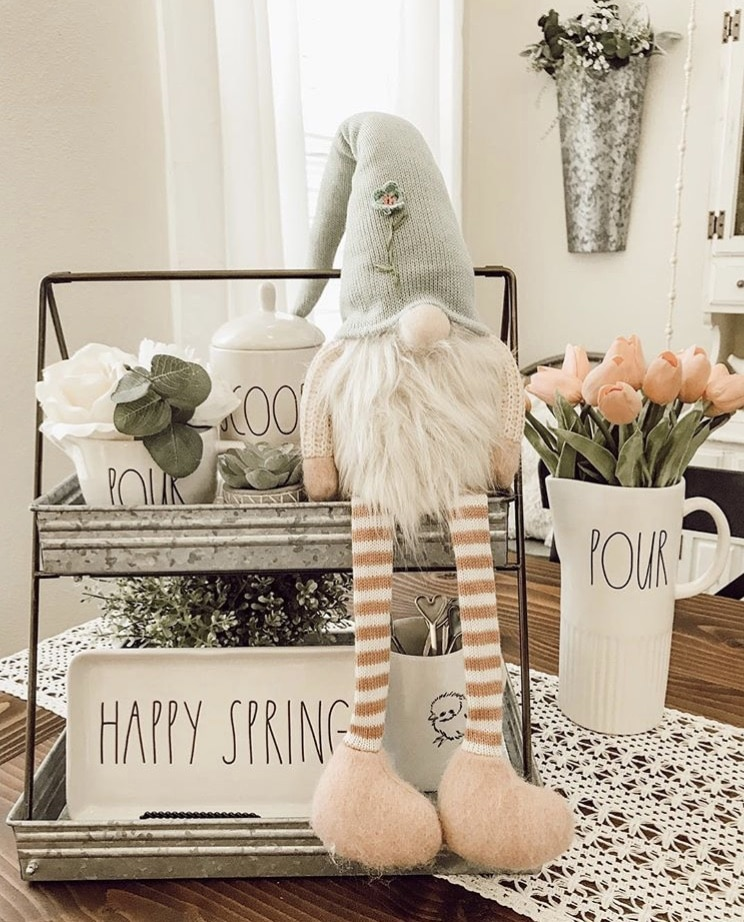 Spring Decor Ideas by Our Devine Home with a spring tiered tray and gnome