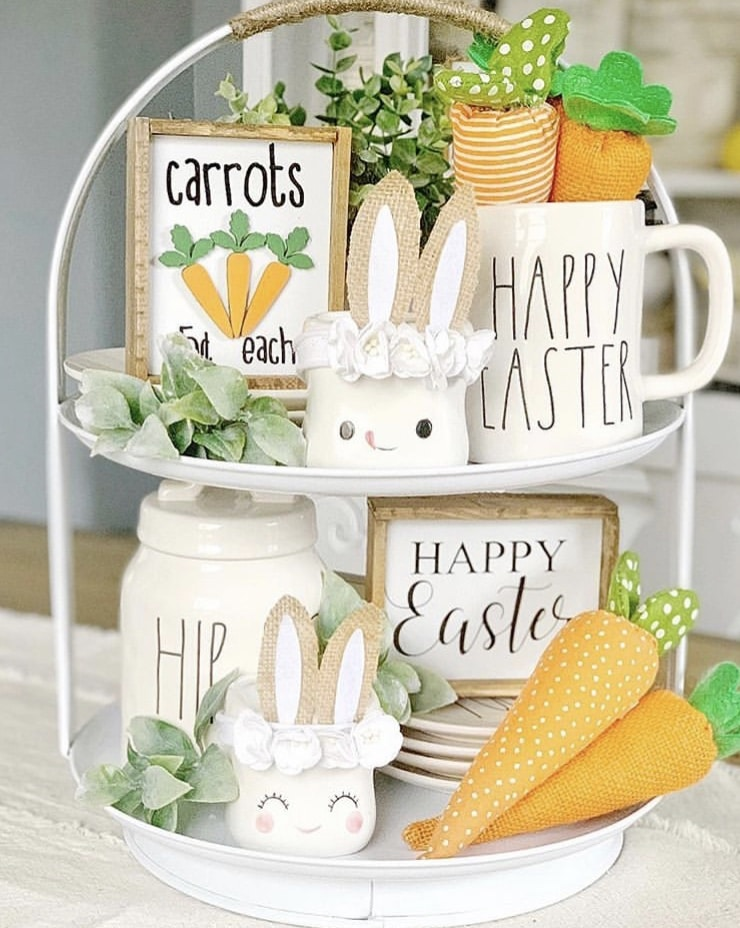 Spring Decor Ideas by Baileys Branches with a carrot and cute marshmallow mugs