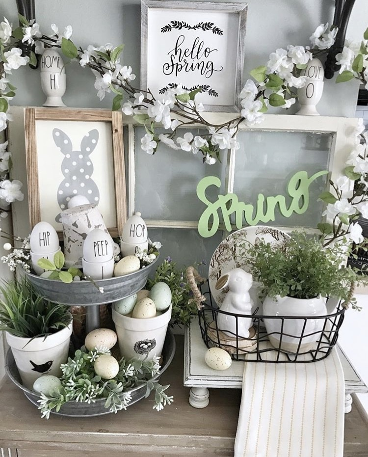 Spring Decor Ideas by Sunny GA Charm with tiered trays and Easter decor