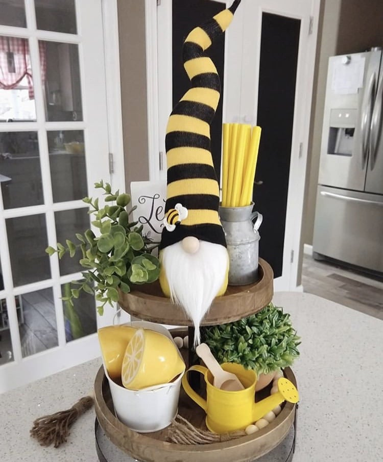 Spring Decor Ideas by Habitual Homebody with a bumble bee gnome