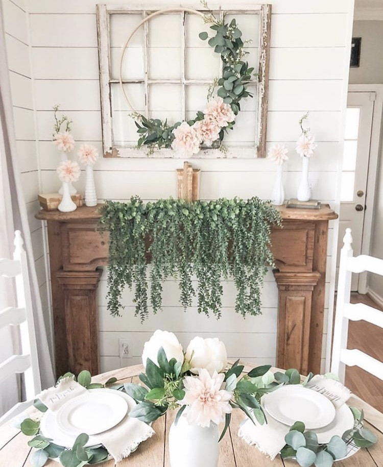 Spring Decor Ideas by Rustic Pig Designs with asymmetrical wreath