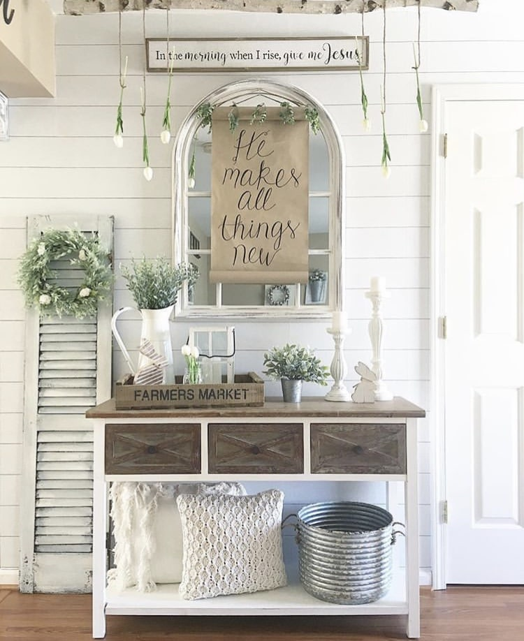 Spring Decor Ideas by Little Love Nest with hanging flowers and a sweet note