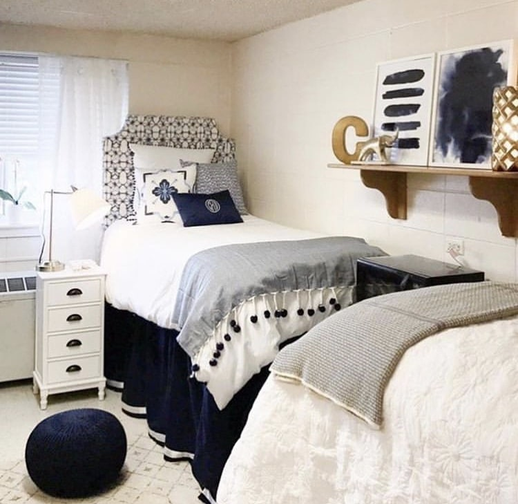 Girls Dorm Room Decor by Fourteenth Floor with navy blue and white and a pop of gold