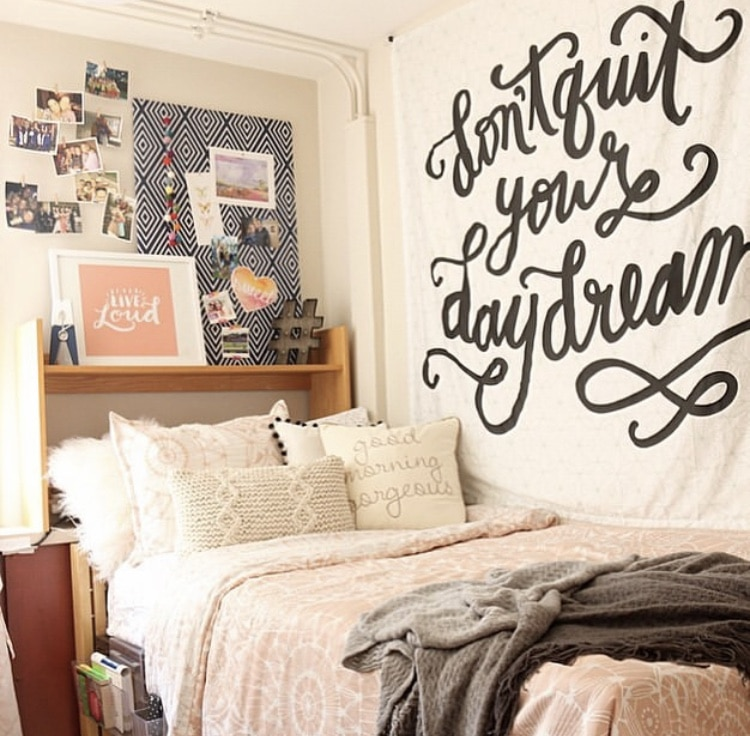 Girls Dorm Room Decor by DIY Playbook with pink and gray hues
