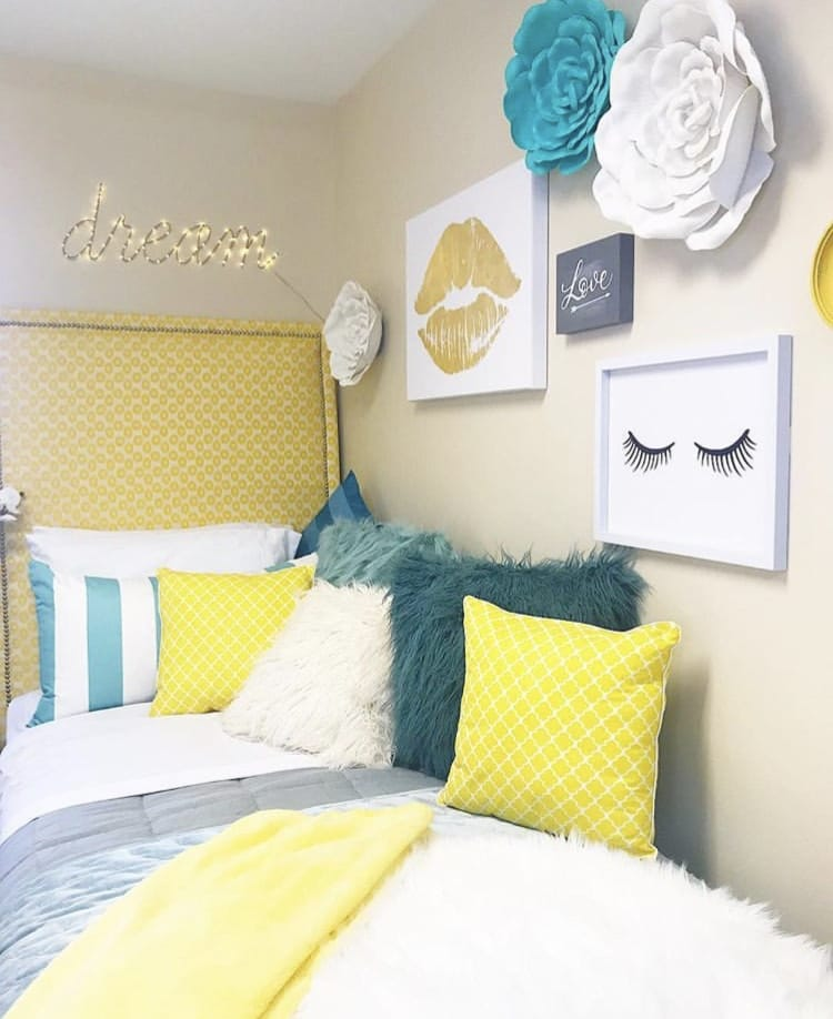 Girls Dorm Room Decor by Design Inkredible with yellow, teal, white and gold decor