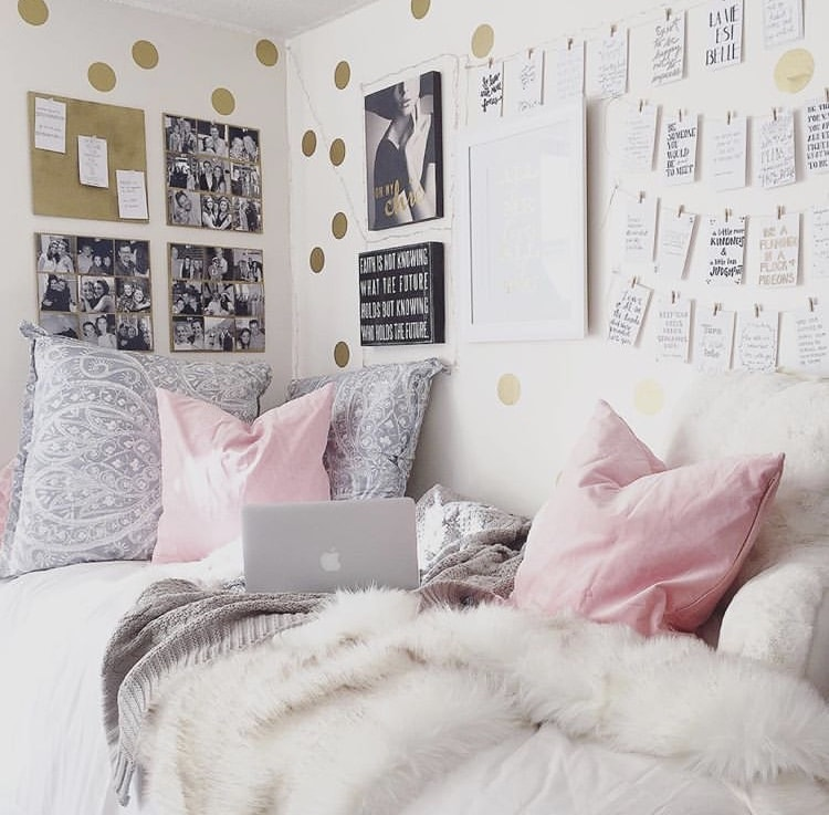 Girls Dorm Room Decor by Kayla Maryly with gold dot wall decals and a grey and pink color scheme