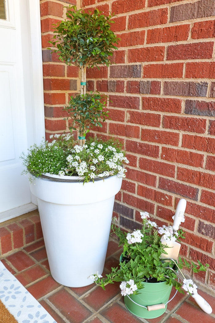 Spring container garden on front porch