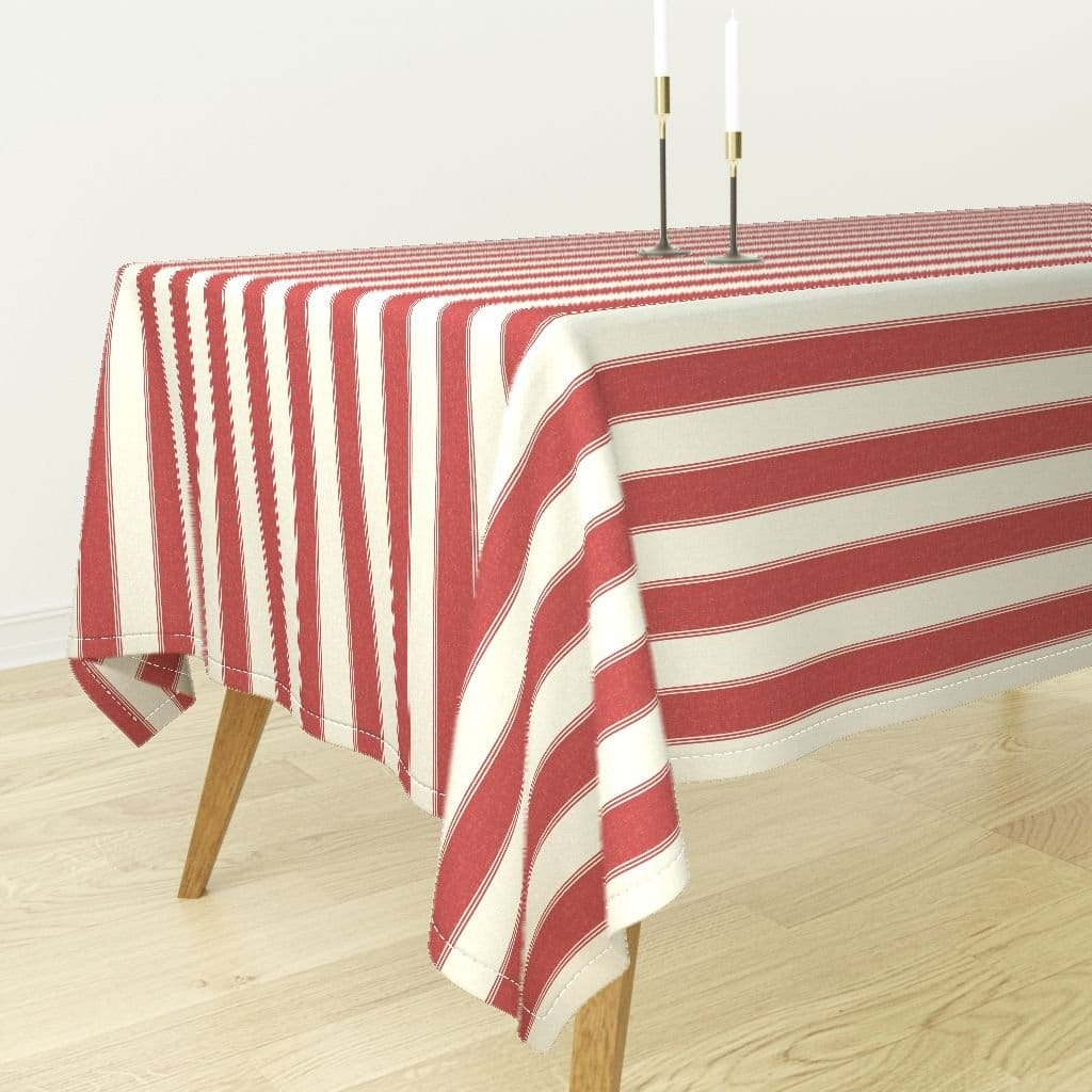 Italian Themed Dinner Party Red and White Ticking Tablecloth