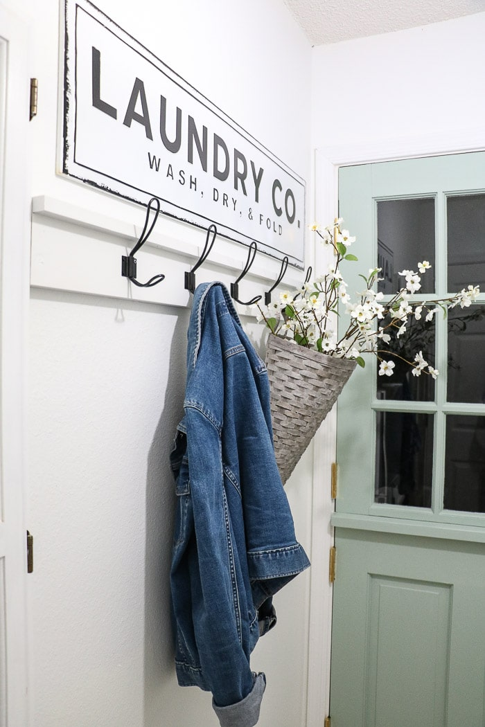 DIY coat rack with a farmhouse vibe.