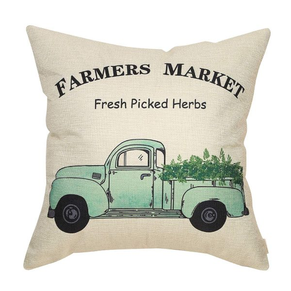 Porch Decorating Ideas with a Vintage Farm Truck Pillow