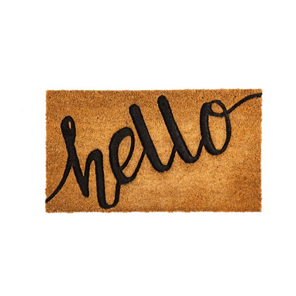 Farmhouse small porch Decorating Ideas using a written doormat that says hello