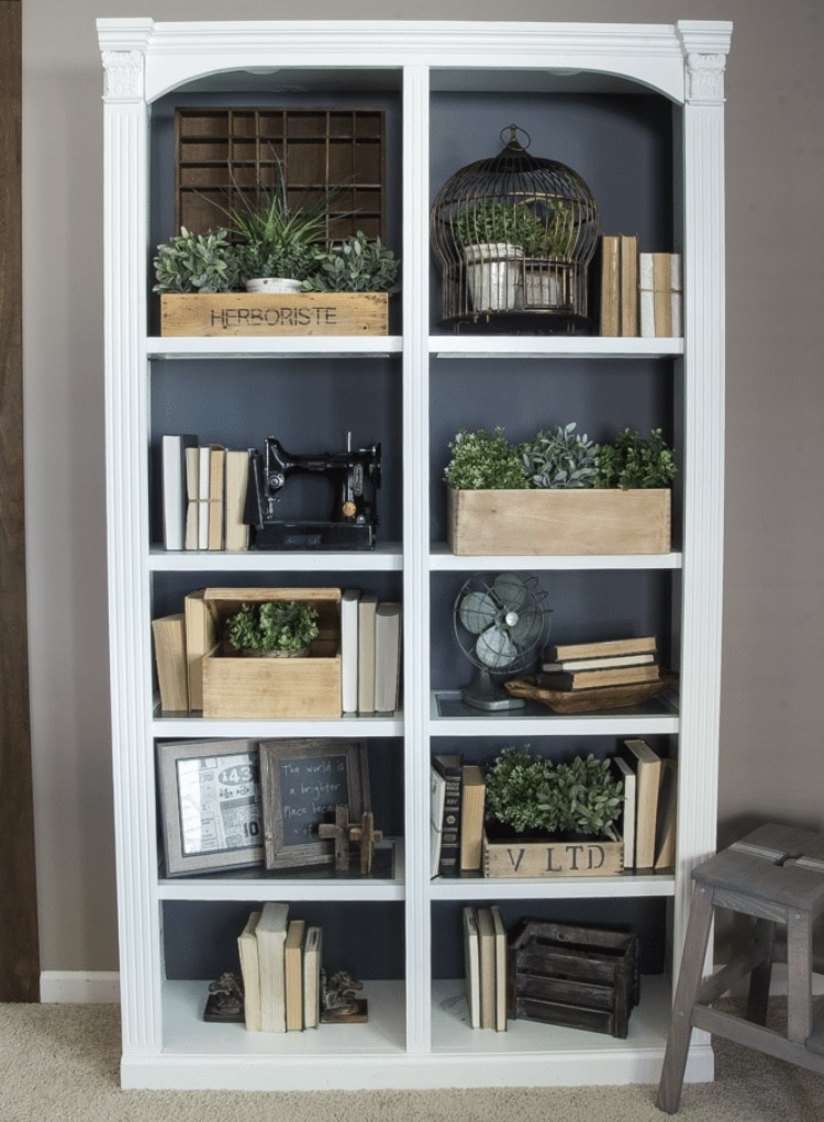 DIY Bookshelf Makeover by Bless'er Home with a DIY Reclaimed Crates Bookcase Makeover