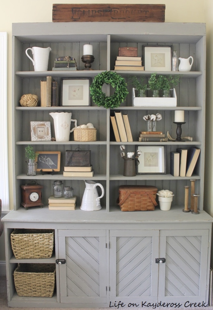 DIY Bookshelf Makeover by My Life on Kaydeross Creek with 10 Tips for Decorating Shelves Like A Pro