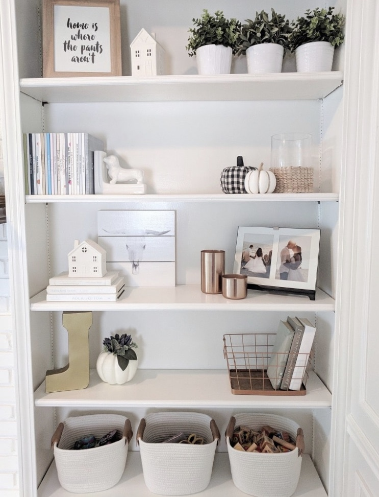 DIY Bookshelf Makeover by Arin Solange at Home with How to Decorate Shelving