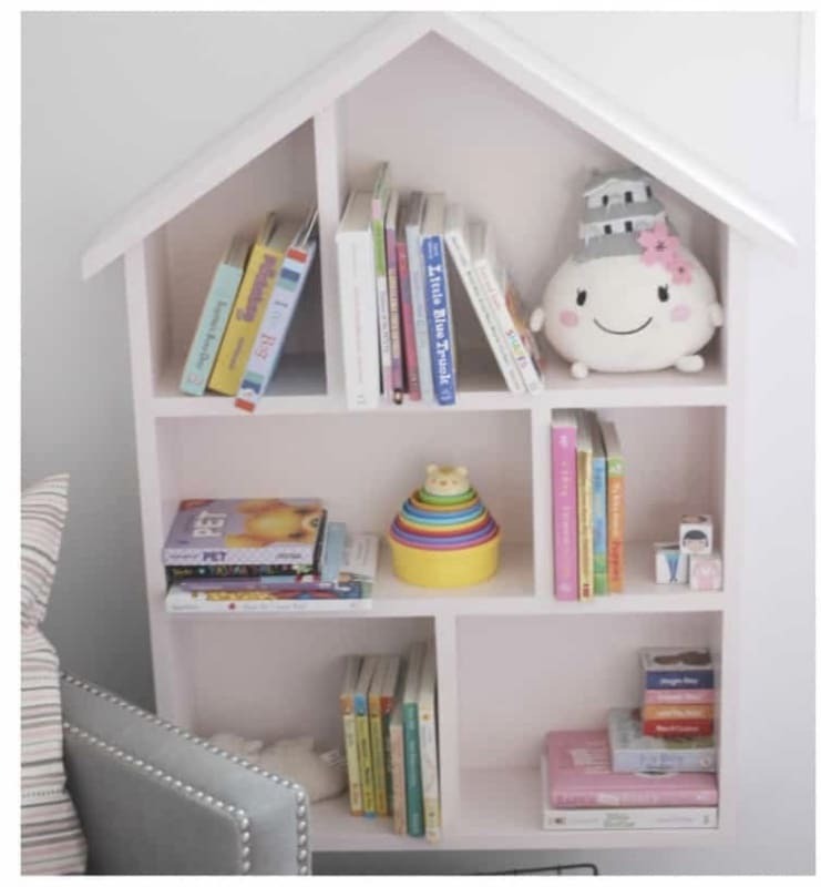 DIY Bookshelf Makeover by Love Create Celebrate with a House Bookshelf