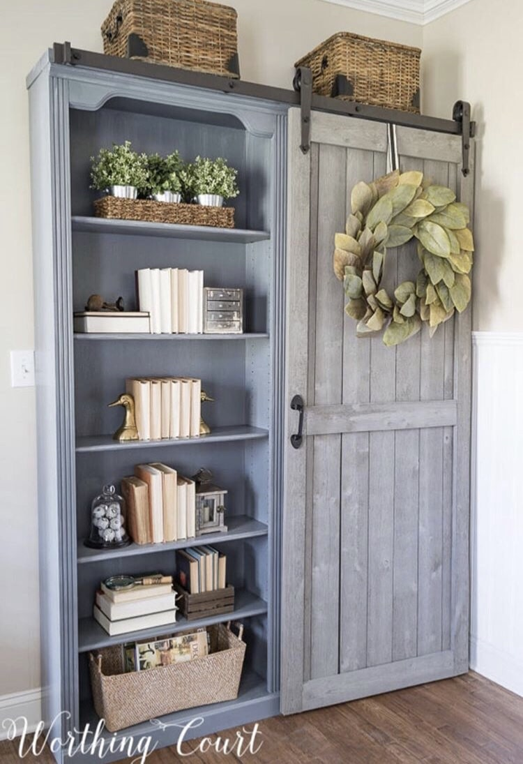 DIY Bookshelf Makeover by Worthing Court with a Farmhouse Bookcase Makeover
