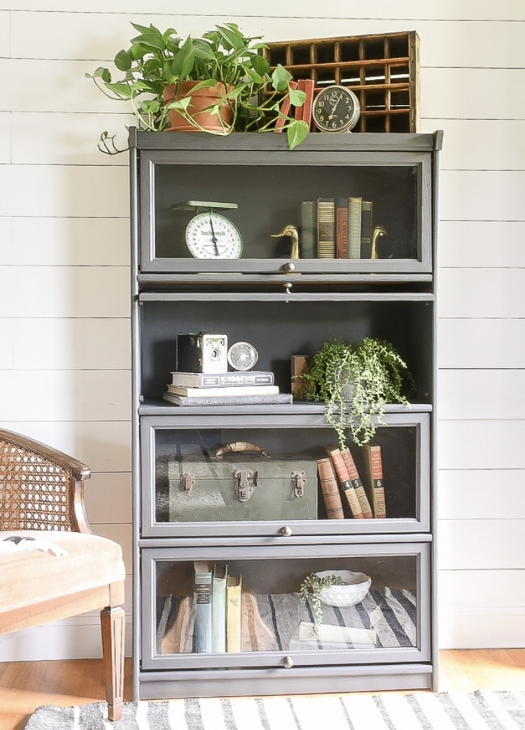 DIY Bookshelf Makeover by Little House of Four with Painted Vintage Barrister Style Bookcase