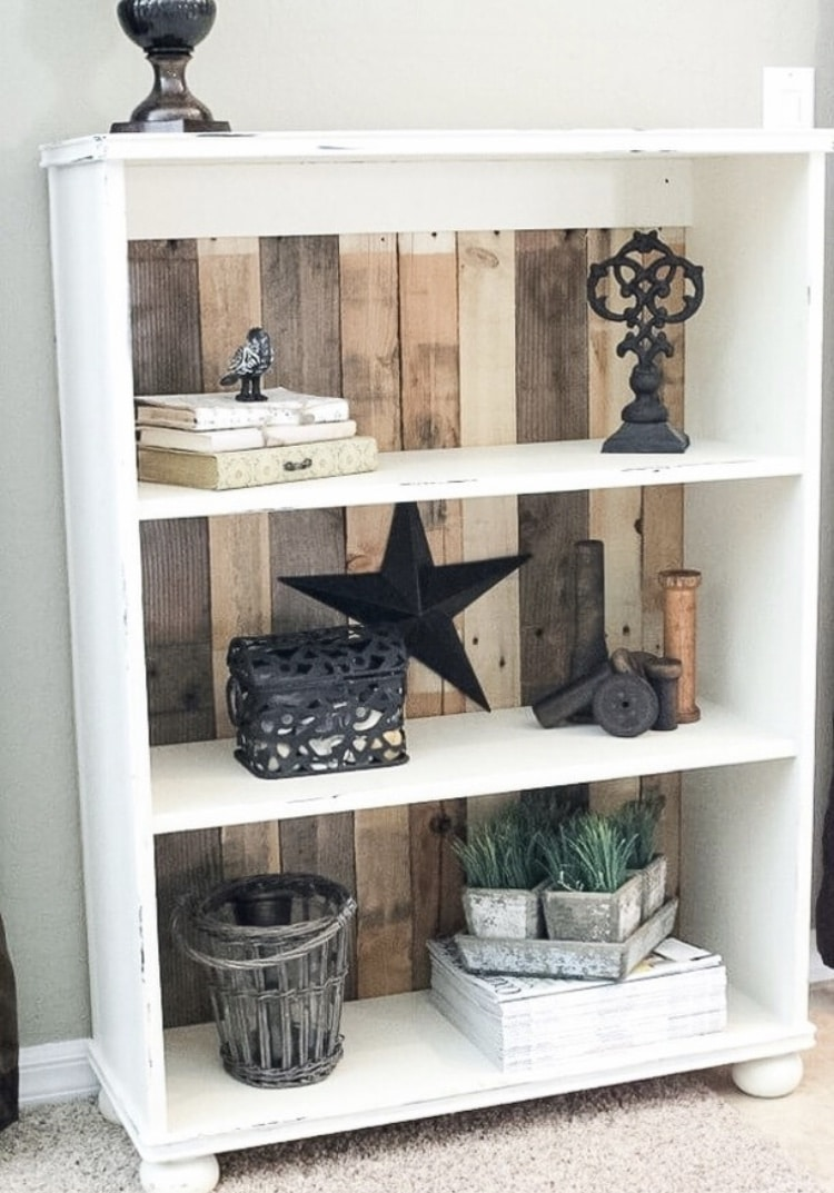 DIY Bookshelf Makeover by Noting Grace with DIY Pallet Bookcase Tutorial