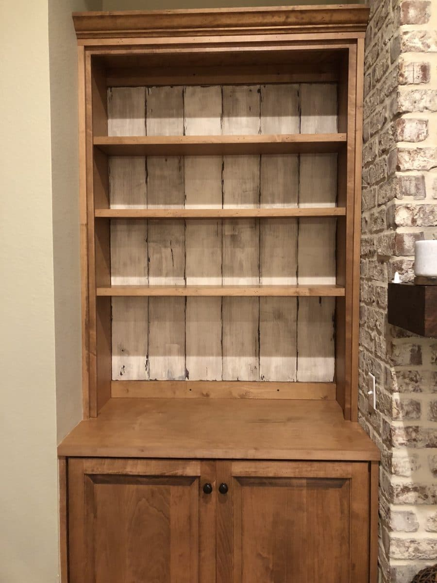 bookcase makeover in a rustic white washed wood plank look