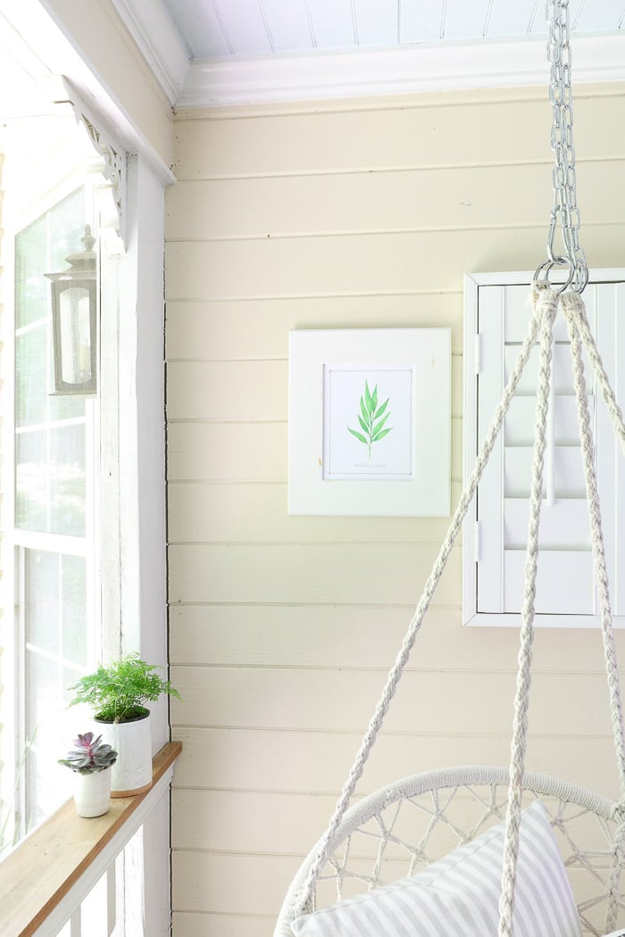 Screened in porch decorating ideas using plants, art and pillows.