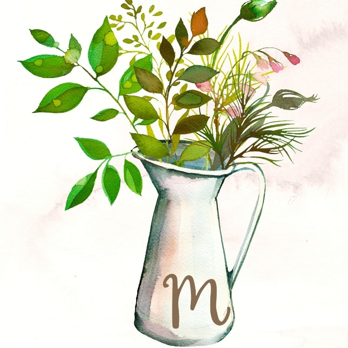 Free Printable Botanical Prints by Average but Inspired with monogram botanical pitcher