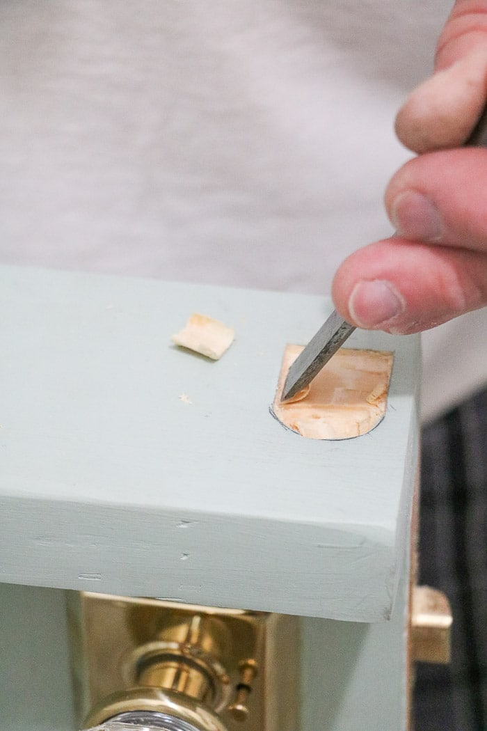 DIY exterior dutch door chiseling where hook will be installed
