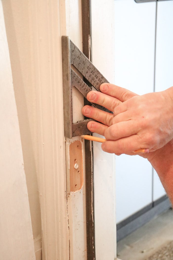 DIY exterior dutch door squaring off and marking for a hinge