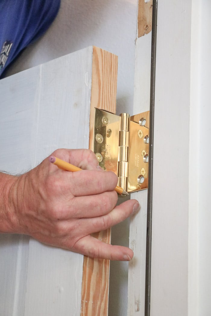 DIY exterior dutch door marking for more hinges