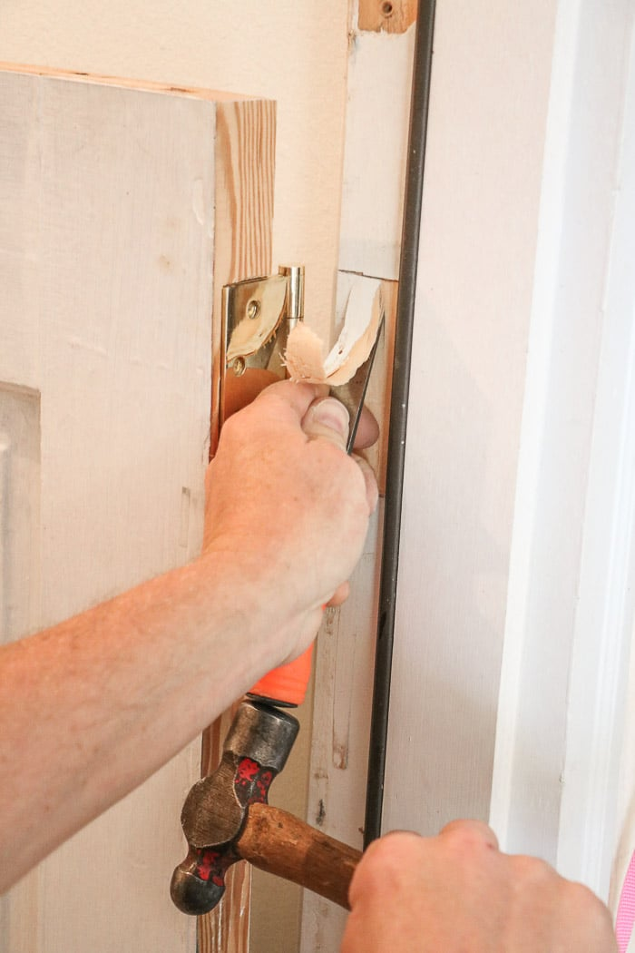 DIY exterior dutch door chiseling for a door hinge