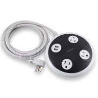 Philips 3-Outlet 450J Surge Protector Orb with 2USB Charging, 8' Braided Cord - White
