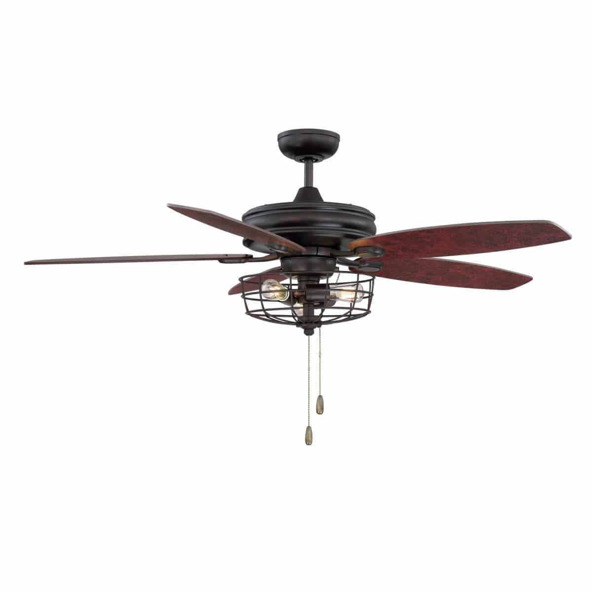 "Affordable farmhouse ceiling fans 52"" Glenpool 5 blade ceiling fan metal rustic light"