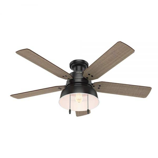 Affordable farmhouse ceiling fan Hunter mill valley black metal retro light