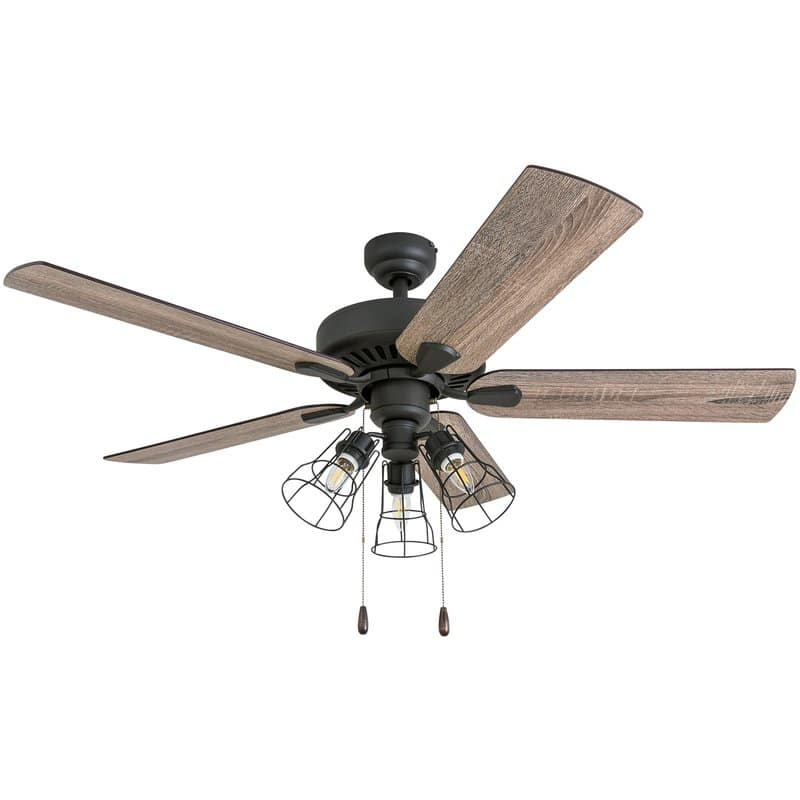 Affordable farmhouse ceiling fan Socorro 5 blade LED 52""