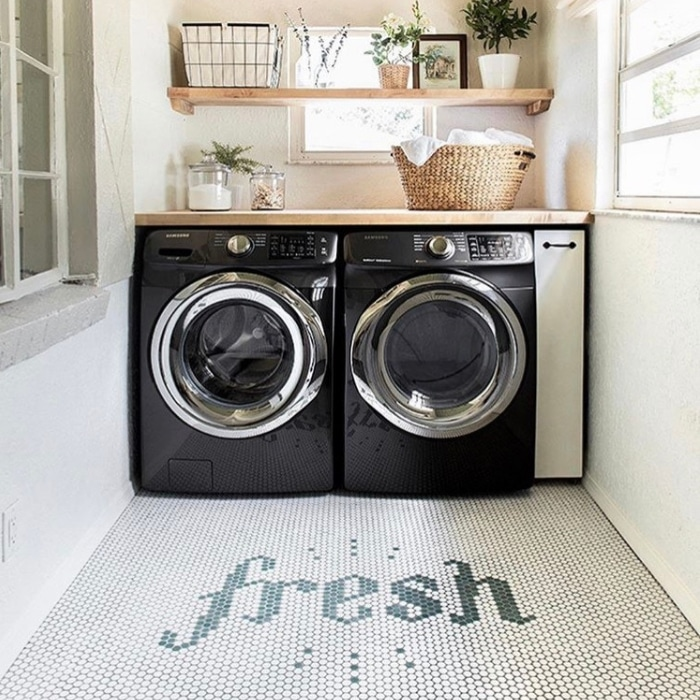 Farmhouse Laundry Room Decor by Jenna Sue Design with beautiful tiling