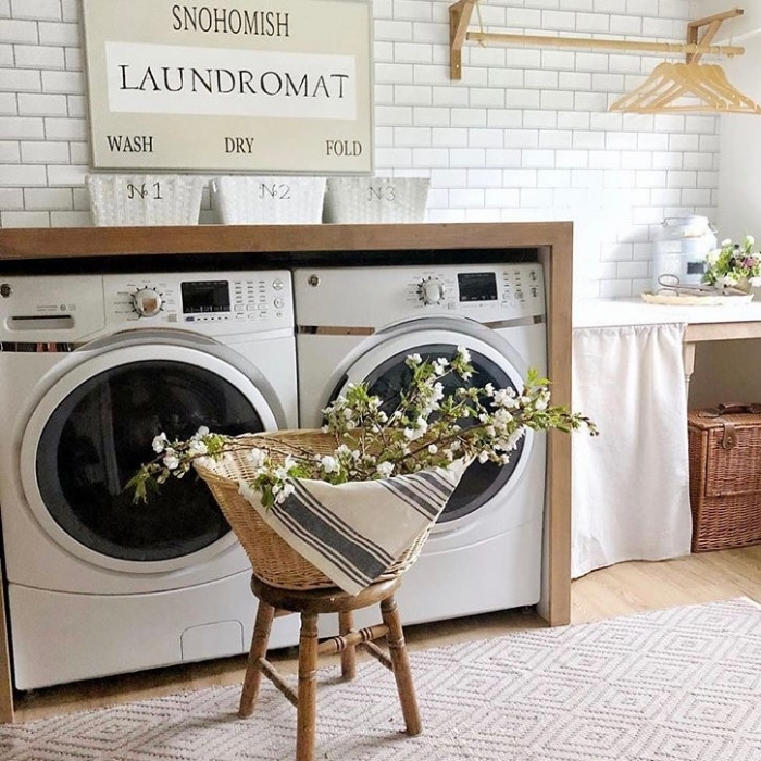 Farmhouse Laundry Room Decor by The Dukes of Snohomish with their own laundromat sign